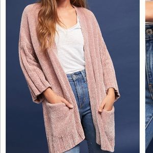 Anthropologie Pink Chenille Oversized Sweater